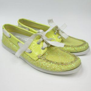 Sperry Top Sider Yellow Glitter Boat Shoe 8M